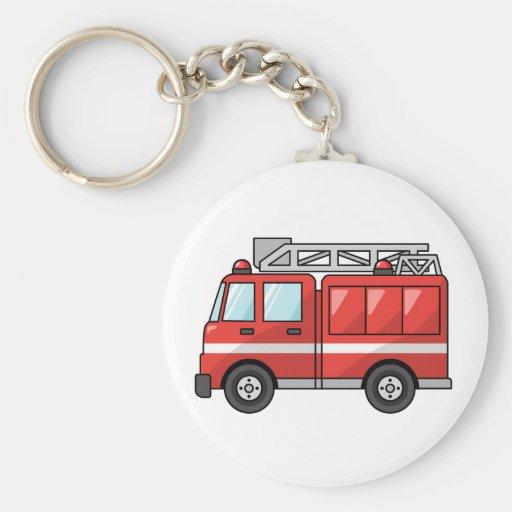 Carro de bombeiros legal/motor dos desenhos animad chaveiro