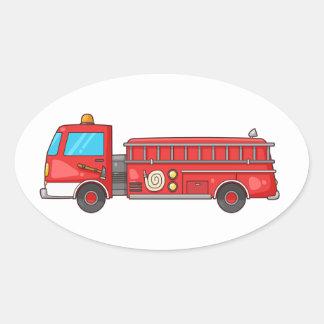 Carro de bombeiros/motor dos desenhos animados adesivo oval