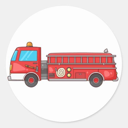 Carro de bombeiros/motor dos desenhos animados adesivo em formato redondo