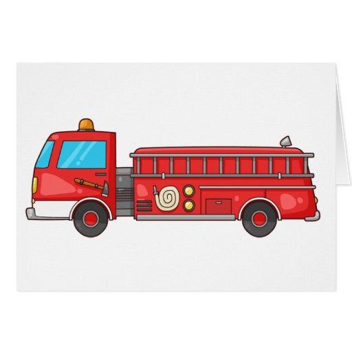 Carro de bombeiros/motor dos desenhos animados cartões