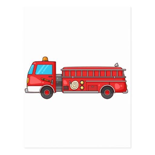 Carro de bombeiros/motor dos desenhos animados cartao postal
