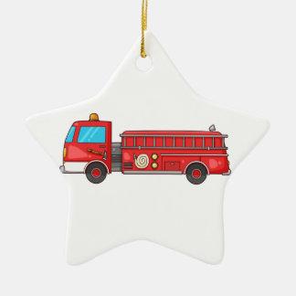 Carro de bombeiros/motor dos desenhos animados ornamento de cerâmica estrela