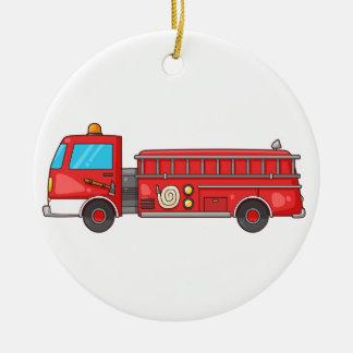 Carro de bombeiros/motor dos desenhos animados ornamento de cerâmica redondo