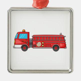 Carro de bombeiros/motor dos desenhos animados ornamento quadrado cor prata