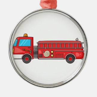 Carro de bombeiros/motor dos desenhos animados ornamento redondo cor prata