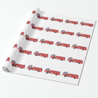 Carro de bombeiros/motor dos desenhos animados papel de presente