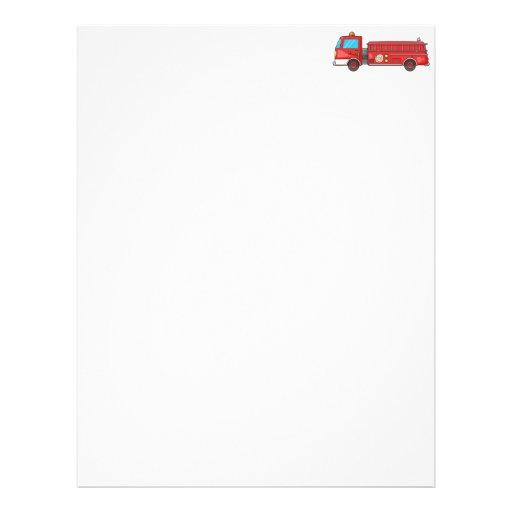 Carro de bombeiros/motor dos desenhos animados modelos de papel de carta