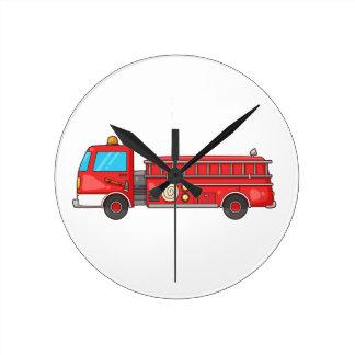 Carro de bombeiros/motor dos desenhos animados relógio de parede