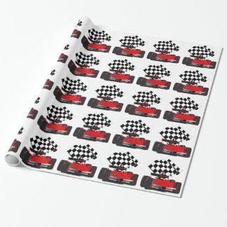 Carro de corridas vermelho com bandeira Checkered Papel De Presente