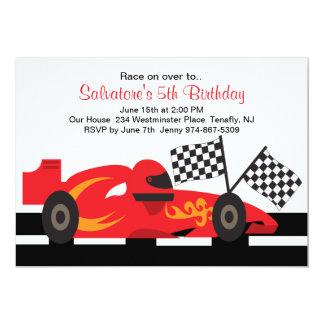 Carro de corridas vermelho com convite do convite 12.7 x 17.78cm