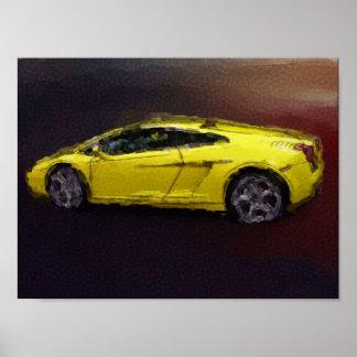 Carro de esportes amarelo pôsteres