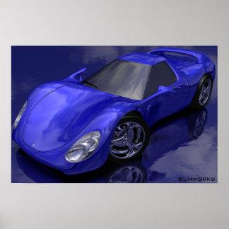 Carro de esportes azul poster