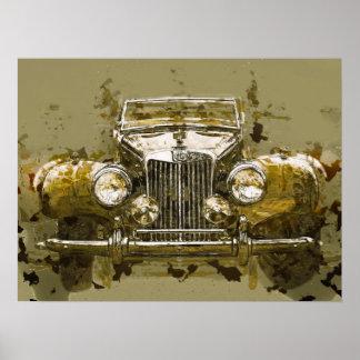Carro de esportes de MG do vintage Poster