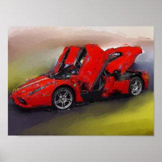 Carro de esportes vermelho poster