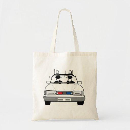 Carro de polícia dos desenhos animados bolsas para compras