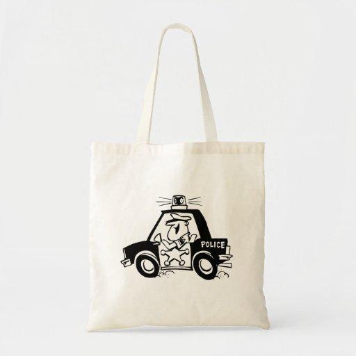 Carro de polícia dos desenhos animados bolsa de lona