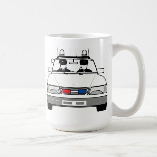 Carro de polícia dos desenhos animados caneca