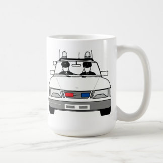 Carro de polícia dos desenhos animados caneca de café