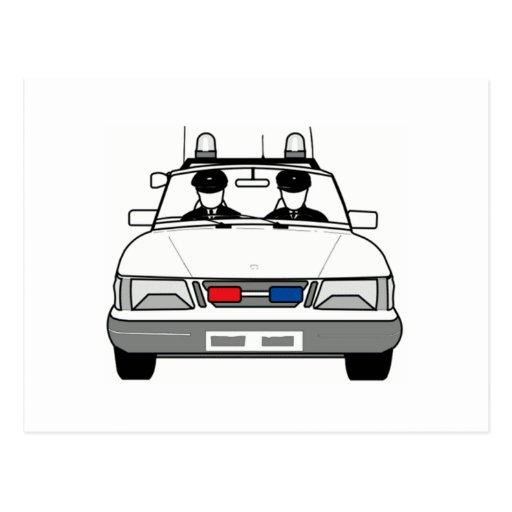 Carro de polícia dos desenhos animados cartoes postais