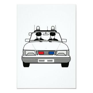 Carro de polícia dos desenhos animados convite 8.89 x 12.7cm