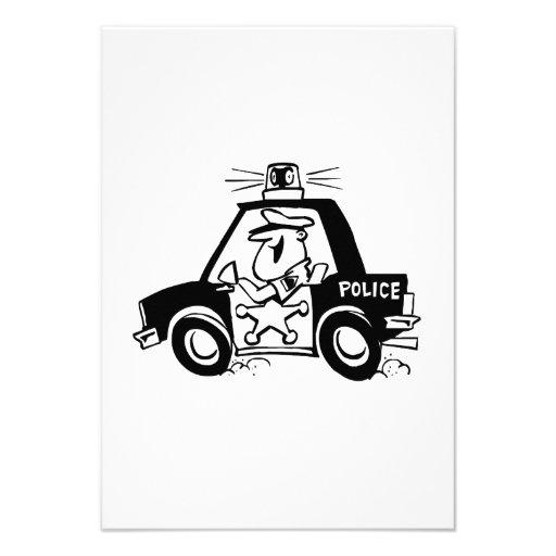 Carro de polícia dos desenhos animados convites personalizado