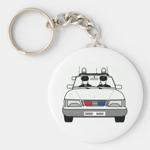 Carro de polícia dos desenhos animados chaveiros