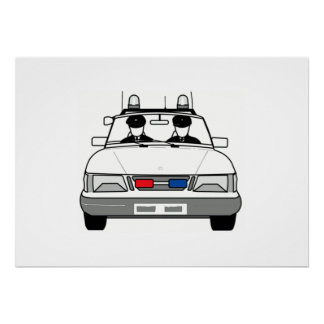 Carro de polícia dos desenhos animados pôster