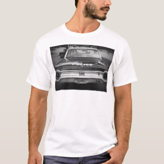 Carro de polícia velho preto e branco - t-shirt camiseta