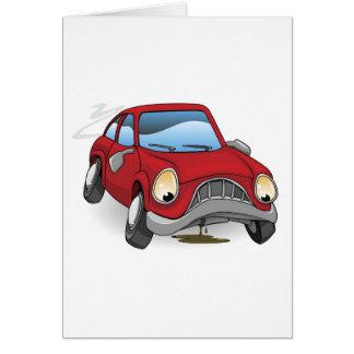 Carro dividido triste dos desenhos animados cartão
