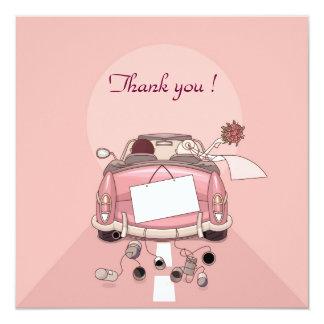 carro do casamento do remerciement convite quadrado 13.35 x 13.35cm
