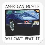 Carro do músculo, clássico e azul americanos V8 do Adesivo Quadrado
