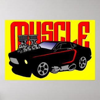 Carro do músculo de 341 desenhos animados poster