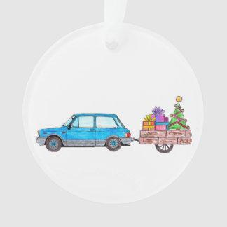 Carro do Natal com presentes Ornamento