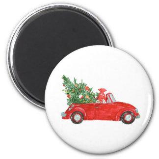 Carro do natal vintage imã