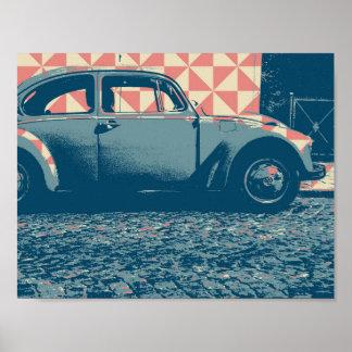 carro do pop art pôster