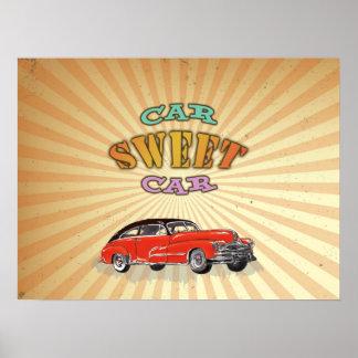 Carro doce do carro retro do músculo com design |  poster