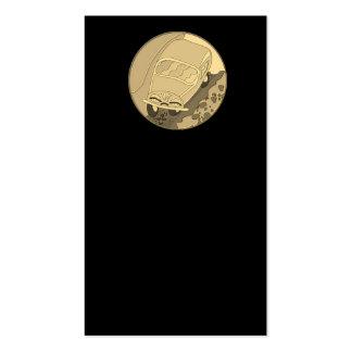 Carro dos desenhos animados do ouro no preto cartão de visita