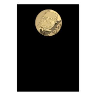 Carro dos desenhos animados do ouro no preto cartão de visita grande