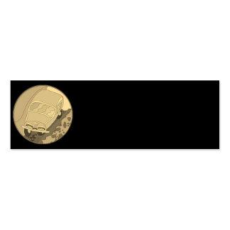 Carro dos desenhos animados do ouro no preto cartão de visita skinny