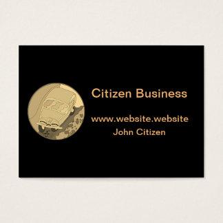 Carro dos desenhos animados do ouro no preto cartão de visitas