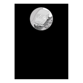 Carro dos desenhos animados na prata no preto cartão de visita grande