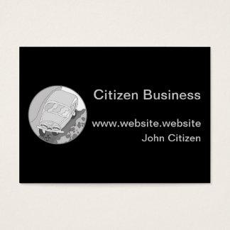 Carro dos desenhos animados na prata no preto cartão de visitas
