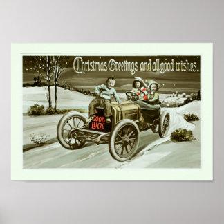 Carro e crianças idosos pôster
