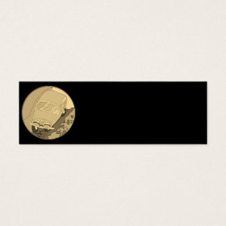 Carro engraçado dos desenhos animados do ouro no cartão de visitas mini