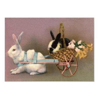Carro floral das flores de cesta da páscoa do convite 12.7 x 17.78cm