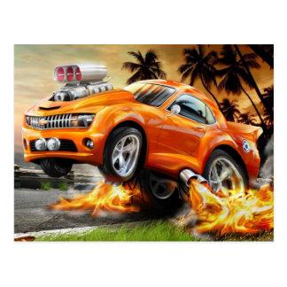 Carro rápido e furioso dos desenhos animados cartão postal