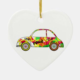 Carro retro dos anos 70 dos anos 60 da paz retro ornamento de cerâmica coração