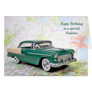 Carro retro para o aniversário do sobrinho cartão comemorativo