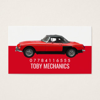 Carro vermelho clássico, mecânicos cartão de visitas