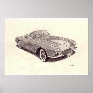 Carro vintage: Chevrolet Corvette Pôsteres